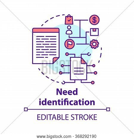 Need Identification Concept Icon. Market And Consumer Analysis. Business Plan. Strategic Project Man