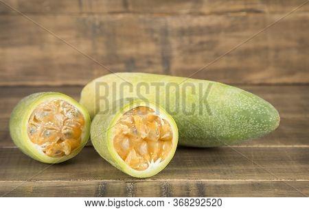 Curuba Tropical Fruit - Passiflora Tripartite. Text Space
