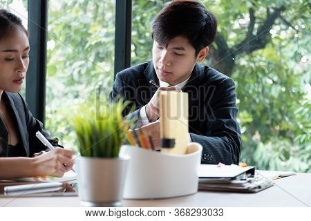 Young Business Asian Are Meeting Design Ideas Concept. Business Planning