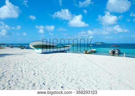 Main Beach At San Andres Island And Johnny Cay In The Back, Colombia, South America