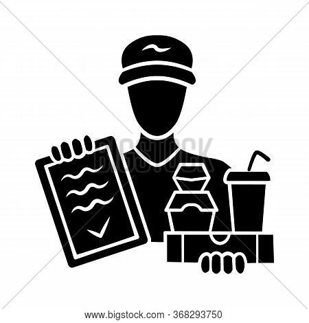 Food Delivery Glyph Icon. Express Courier Service. Deliveryman Holding Takeaway Fast Food And Invoic