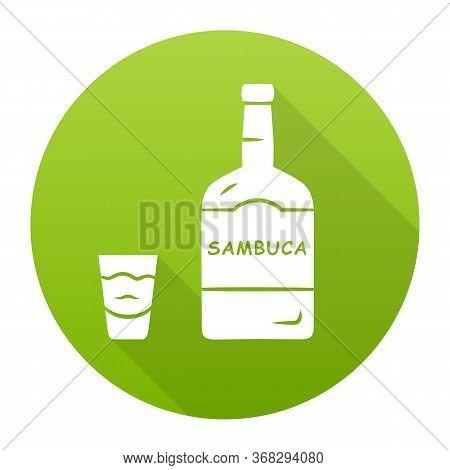 Sambuca Green Flat Design Long Shadow Glyph Icon. Bottle And Shot Glass With Drink. Italian Anise-fl