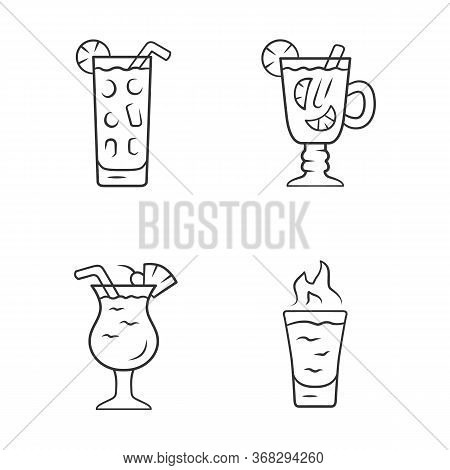 Drinks Linear Icons Set. Cocktail In Highball Glass, Hot Toddy, Pina Colada, Flaming Shot. Mixes And