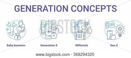 Generation Concept Icons Set. Age Groups Idea Thin Line Illustrations. Gen Z And Millennials. Genera