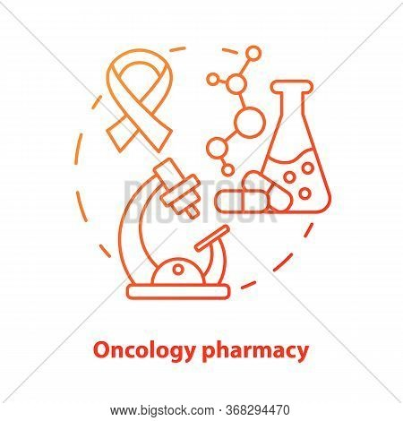 Pharmacy Concept Icon. Oncology Medication Research Idea Thin Line Illustration. Discovering Drugs F