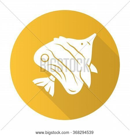 Butterflyfish Yellow Flat Design Long Shadow Glyph Icon. Swimming Fish. Tropical Aquatic Animal. Mar