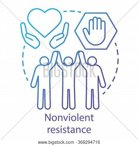 Nonviolent Resistance Concept Icon. Peaceful Social Protest, Public Rally, Pacifism Movement Idea Th