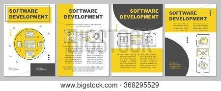 Software Development Brochure Template Layout. Flyer, Booklet, Leaflet Print Design, Linear Illustra