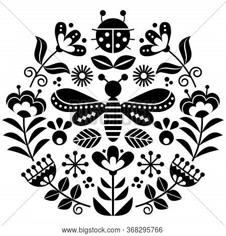 Scandinavian Folk Flowers Vector Design, Cute Monochrome Floral Pattern With Bugs, Ladybird And Fly
