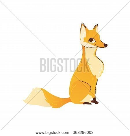 Cute Cartoon Fox Drawing, Hand Drawn Wild Animal Design With Smile And Sly Face