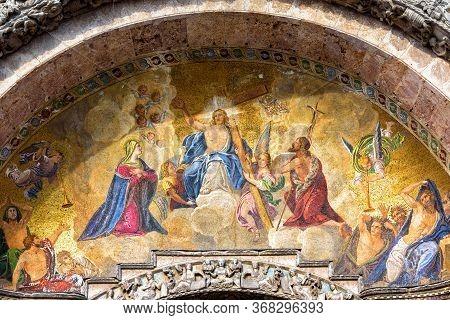 St Mark`s Basilica Close-up, Venice, Italy. It Is Top Landmark In Venice. Beautiful Luxury Mosaic Po