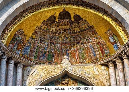 St Mark`s Basilica Close-up, Venice, Italy. It Is Top Landmark In Venice. Beautiful Golden Mosaic Po
