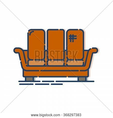 Comfortable Sofa With Three Pillows. Image Of Couch In Line Art Style. Element Furniture Of The Inte