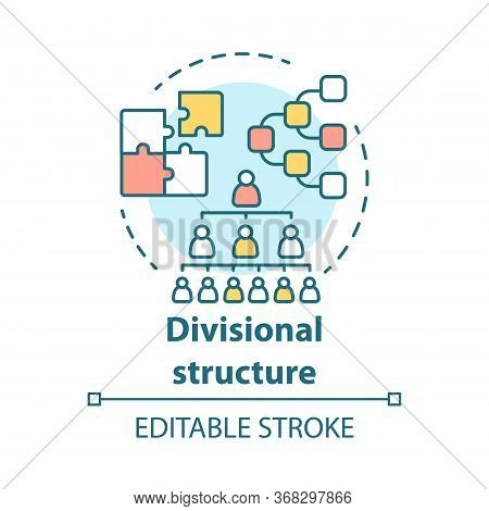 Divisional Corporate Structure Concept Icon. Organization Hierarchy Idea Thin Line Illustration. Lea