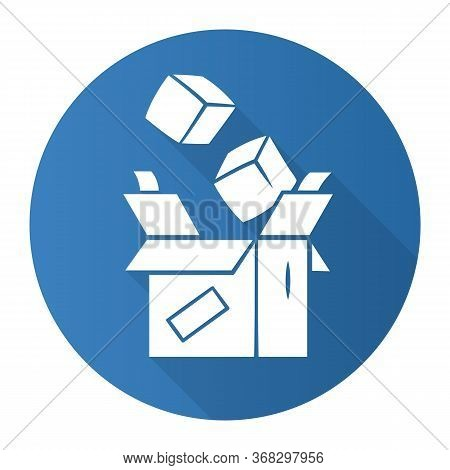 Parcel Packing Blue Flat Design Long Shadow Glyph Icon. Order Packaging And Wrapping. Cardboard Box