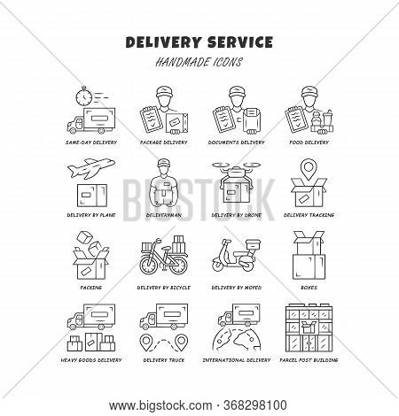 Delivery Linear Icons Set. Thin Line Contour Symbols. Express Goods Shipping. Logistics And Distribu