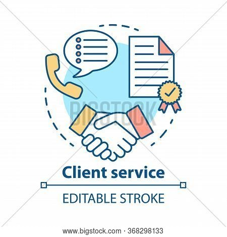 Client Service Concept Icon. Customer Loyalty Idea Thin Line Illustration. Contract, Agreement, Succ