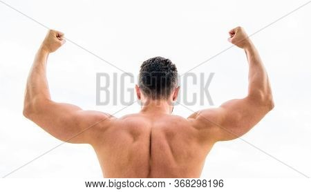 Sport Motivation. Man Celebrating Success. Bodybuilder Strong Muscular Back Feeling Powerful And Sup