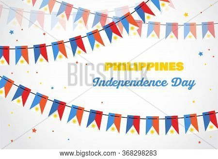 Philippines Independence Day. Vector Banner Background With Bunting With Flags Of Philippines. Backg