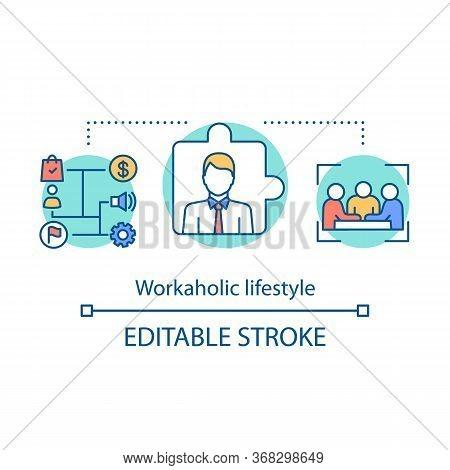 Workaholic Lifestyle Concept Icon. Work Addiction Idea Thin Line Illustration. Business Management.