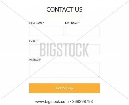 Contact Us Form. Blank Template To Get In Touch Frame. Website Mockup For Message To Support Team. S