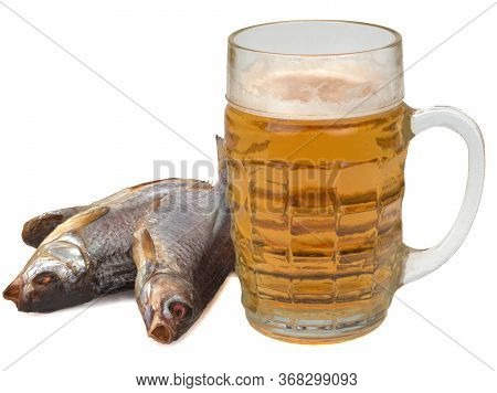 Glass Of Light Beer And Dried Salted Roach Fish Isolated On White Background