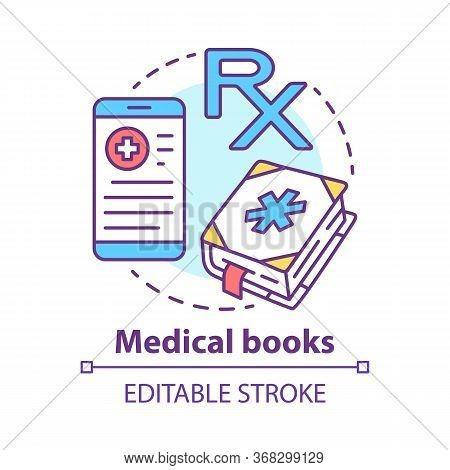 Medical Books Concept Icon. Health Treatment Literature Idea Thin Line Illustration. Medicine And Fi