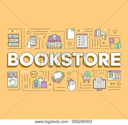 Bookstore Word Concepts Banner. Buying Books Online. Presentation, Website. Purchasing In Internet B