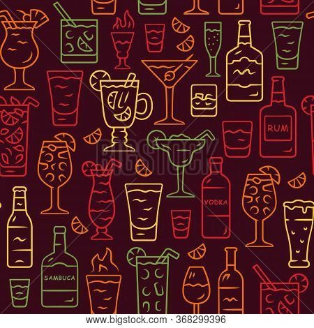Drinks Vector Seamless Pattern. Alcohol Beverages Background. Brown Texture With Hand Drawn Color Ic