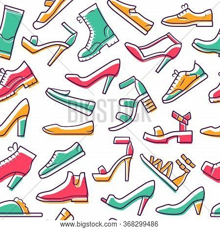 Footwear Vector Seamless Pattern. Shoes Background. White Texture, Hand Drawn Color Icons. Fashion S