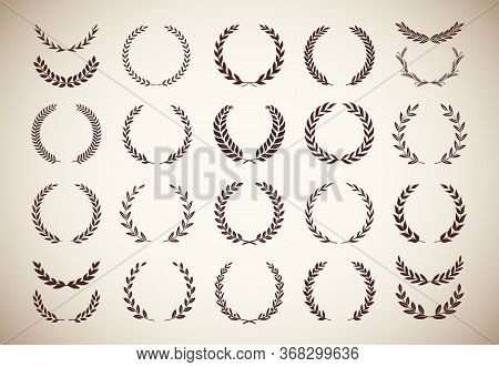 Set Of Different Vintage Silhouette Laurel Foliate, Olive, And Wheat Wreaths Depicting An Award, Ach