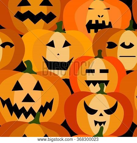 Seamless Pattern Of Halloween Scary Orange Pumpkins On A Black Background. Funny, Creepy, Smiling Fa