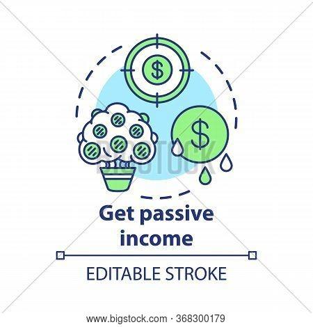 Get Passive Income Concept Icon. Savings Idea Thin Line Illustration. Getting Interest, Percentage F