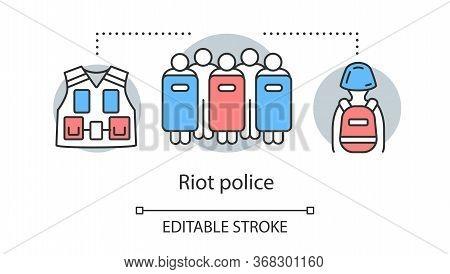 Riot Police Concept Icon. Civil Unrest Control, Rebellion Suppression Idea Thin Line Illustration. P
