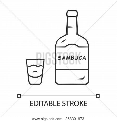 Sambuca Linear Icon. Bottle And Shot Glass With Drink. Italian Anise-flavoured Liqueur. Alcoholic Be