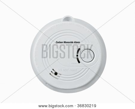 Carbon monoxide alarm isolated over white background poster