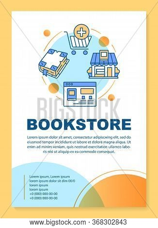 Bookshop Poster Template Layout. Virtual Library. Online Book Shopping. Banner, Booklet, Leaflet Pri