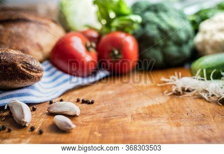 Fresh Healthy Food Closeup. Healthy Food. Vegetarian Food. Nutritious Food. Fresh Veggies And Bread