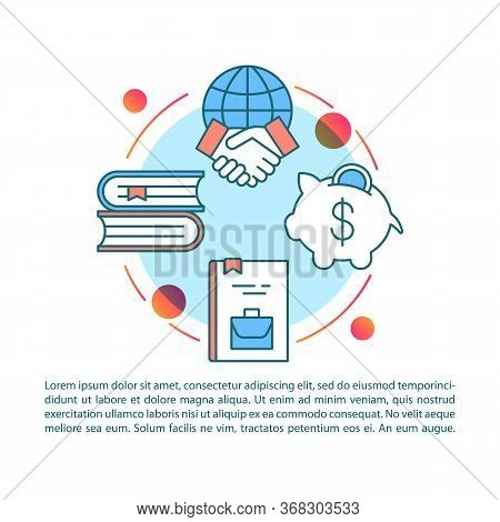 Business Literature Article Page Vector Template. Brochure, Magazine, Booklet Design Element With Li