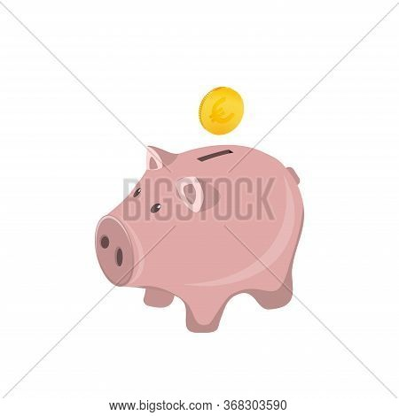 Piggy Bank With Coin Vector Illustration. Icon Of Saving Or Accumulating Money, Investment. Piggy Ba