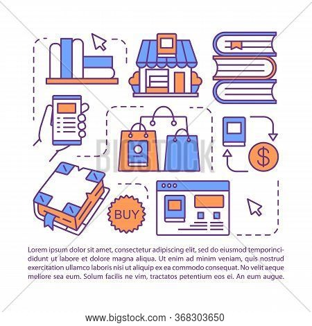Online Bookstore Article Page Vector Template. Brochure, Magazine, Booklet Design Element With Linea