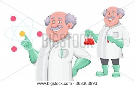 Professor Cartoon Character, Set Of Two Poses. Usable Also As Scientist, Chemist, Laboratory Assista