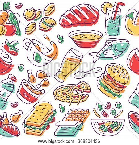 Food Vector Seamless Pattern. Nutrition Background. White Texture, Hand Drawn Color Icons. Culinary