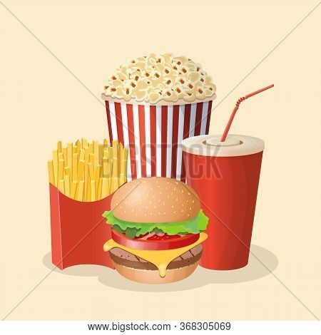 Burger With Soda Cup, Popcorn And French Fries - Cute Cartoon Colored Picture. Graphic Design Elemen