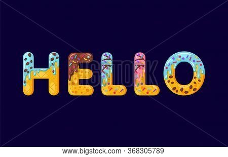 Hello Biscuit Vector Lettering. Glazed Gingerbread Inscription. Tempting Flat Design Typography. Coo