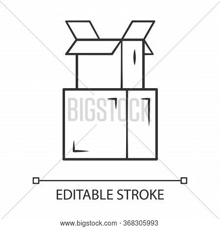 Cardboard Boxes Pile Linear Icon. Parcel Packing. Empty Open Carton Boxes For Wrapping Order. Goods