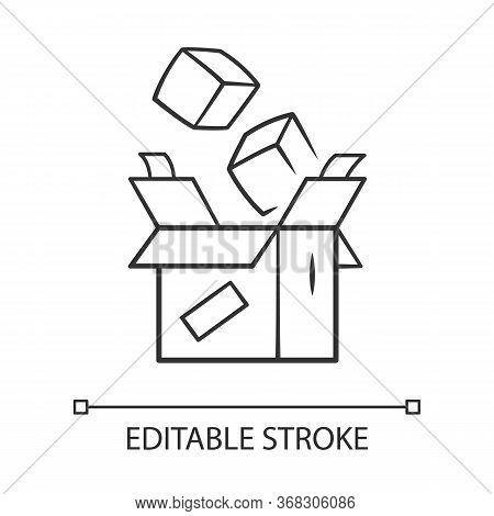 Parcel Packing Linear Icon. Thin Line Illustration. Order Packaging. Cardboard Box With Goods. Posta
