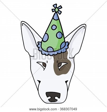 Cute Cartoon Bull Terrier Dog Face With Party Hat Vector Clipart. Pedigree Kennel Show Dog Lovers. P