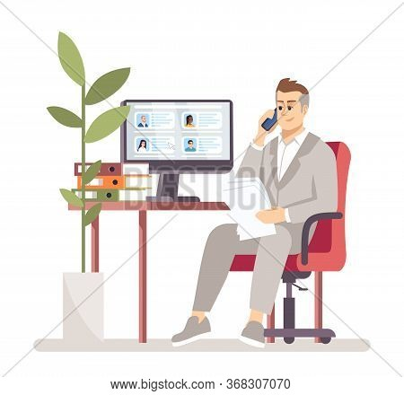 Hr Manager Searching Vacancy Candidate Flat Vector Illustration. Employment Service. Employer Choosi