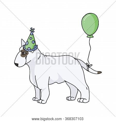 Cute Cartoon Bull Terrier Dog Breed With Party Hat Vector Clipart. Pedigree Kennel Show Dog Lovers.